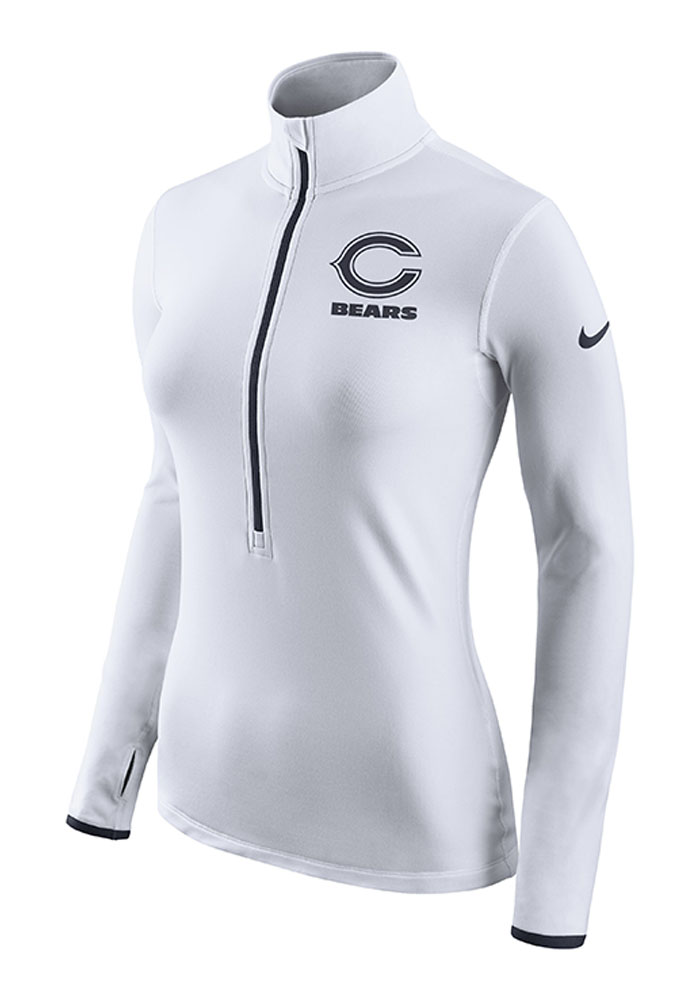 Nike Chicago Bears Womens White Hyperwarm 1/4 Zip Pullover - Image 1