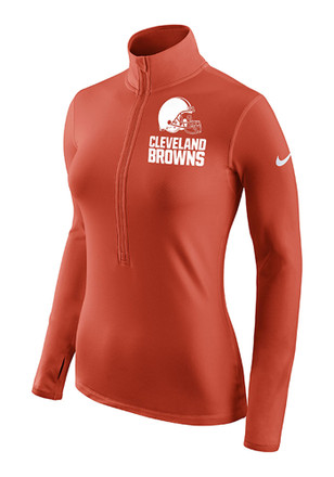 Nike Cleveland Browns Womens Hyperwarm Orange 1/4 Zip Pullover