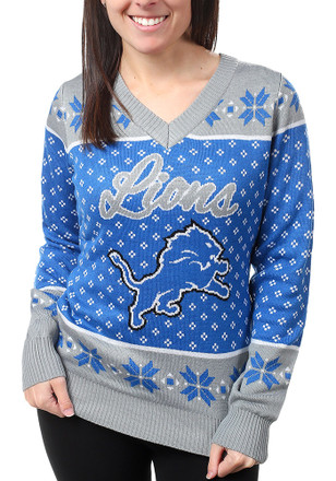 Detroit Lions Womens Blue Big Logo Sweater