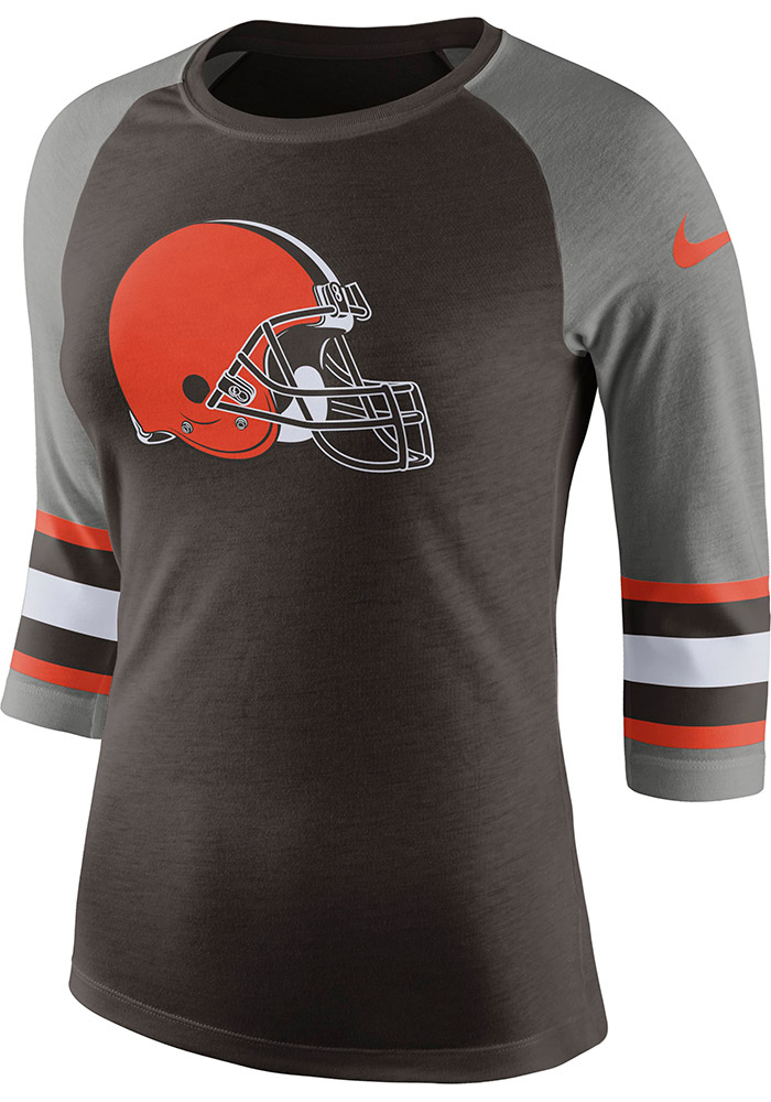 Nike Cleveland Browns Womens Brown Stripe Sleeve Long Sleeve Crew T-Shirt - Image 1