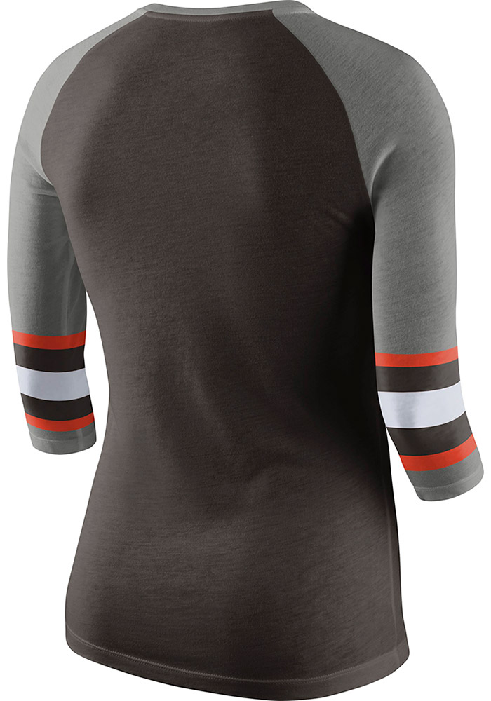 Nike Cleveland Browns Womens Brown Stripe Sleeve Long Sleeve Crew T-Shirt - Image 2