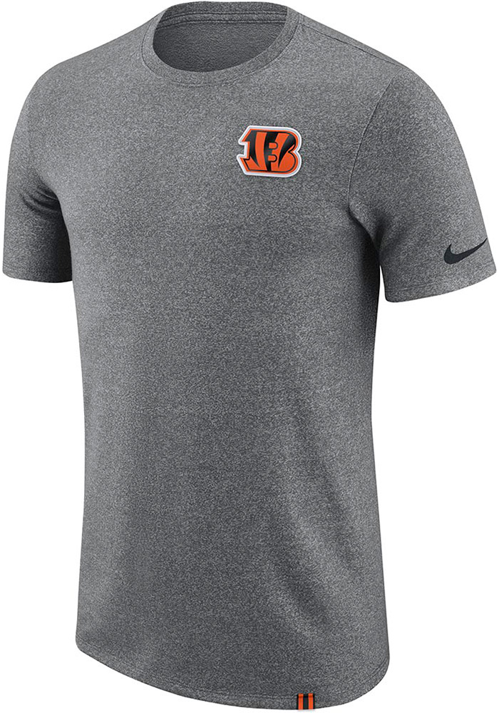 Nike Cincinnati Bengals Grey Marled Patch Short Sleeve T Shirt - Image 1