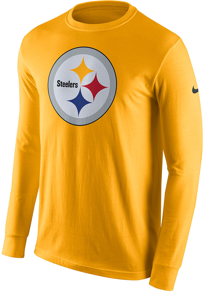 5852970de Nike Pittsburgh Steelers Gold Primary Logo Long Sleeve T Shirt - Image 1