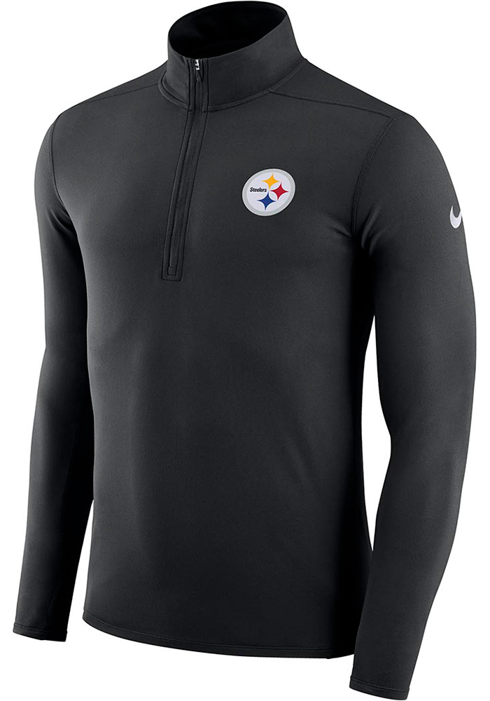 Nike Pittsburgh Steelers Mens Black Element Long Sleeve 1/4 Zip Pullover, Black, 88 POLY/12 SPAN, Size S