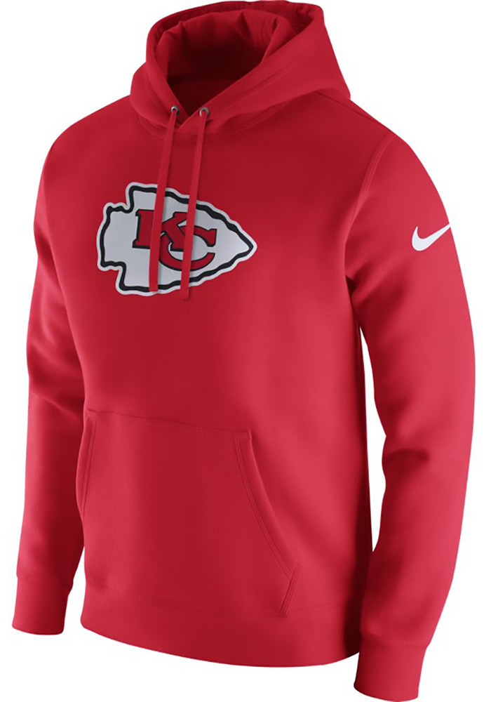 Nike Kansas City Chiefs Mens Red PO Fleece Club Long Sleeve Hoodie, Red, 80% COTTON / 20% POLYESTER, Size S