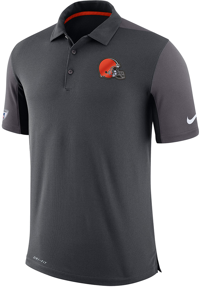 Nike Cleveland Browns Mens Grey Team Issued Short Sleeve Polo - Image 1
