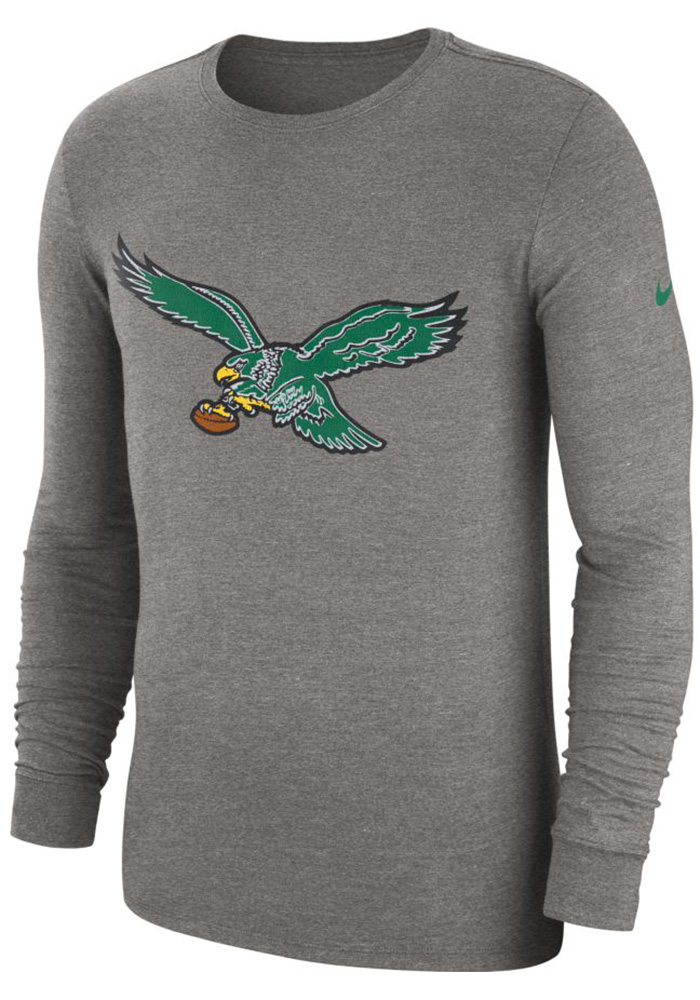 Nike Philadelphia Eagles Grey Historic Crackle Long Sleeve T Shirt - Image 1