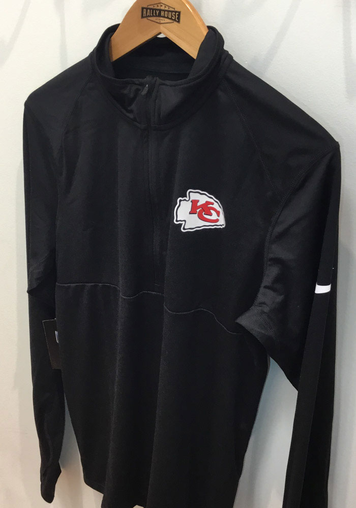 Nike Kansas City Chiefs Mens Black Core Long Sleeve 1/4 Zip Pullover - Image 2