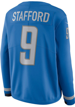 Matthew Stafford Nike Detroit Lions Womens Blue Therma Football Jersey f6e5a1a47