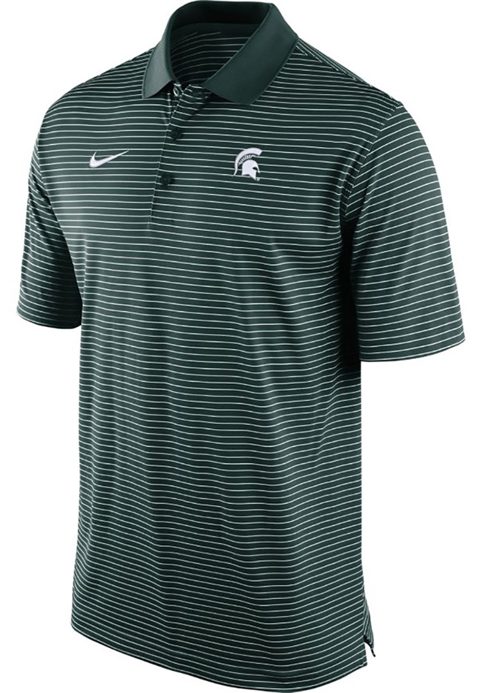 Nike Michigan State Spartans Mens Green Stadium Performance Short Sleeve Polo - Image 1