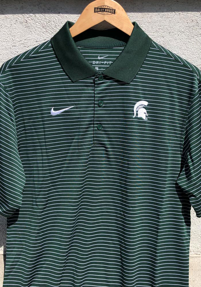 Nike Michigan State Spartans Mens Green Stadium Performance Short Sleeve Polo - Image 3