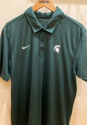 Nike Michigan State Spartans Mens Green Breathe Short Sleeve Polo