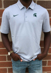 Nike Michigan State Spartans Mens Grey Franchise Short Sleeve Polo