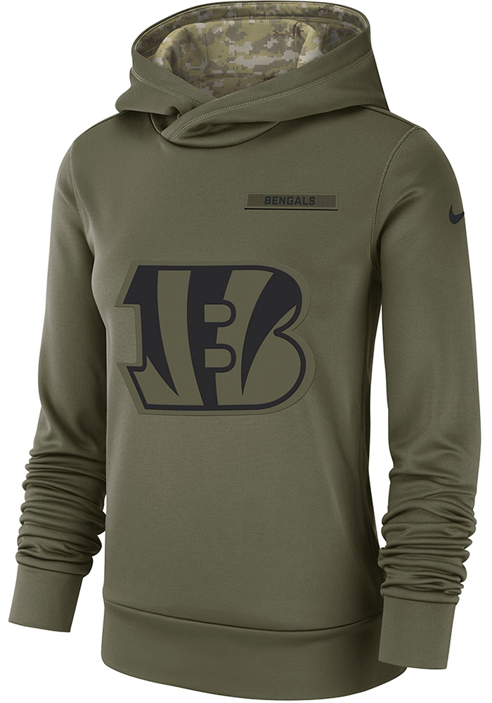new arrival 88a6c 1ad60 Nike Cincinnati Bengals Womens Green STS Therma Hooded Sweatshirt