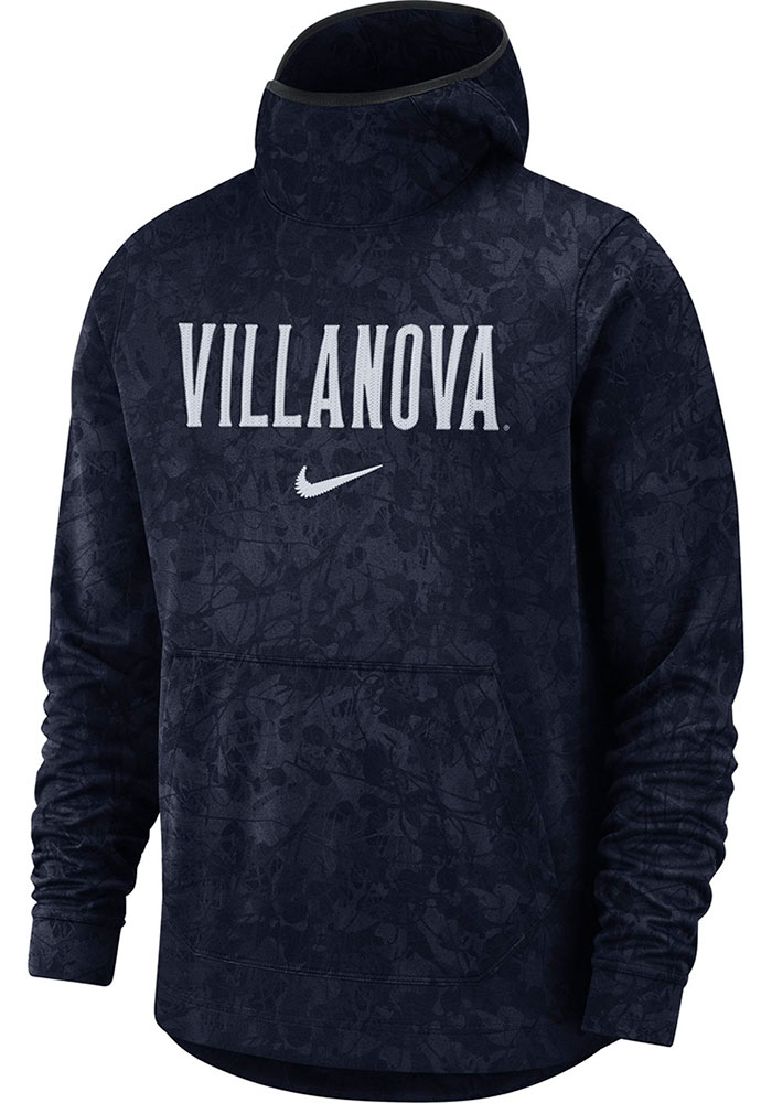 Nike Villanova Wildcats Mens Navy Blue DriFit All Over Pattern Book Print Hood - Image 1