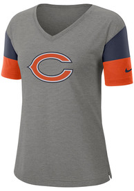 Chicago Bears Womens Nike Breathe Dri-FIT V Neck T-Shirt - Grey