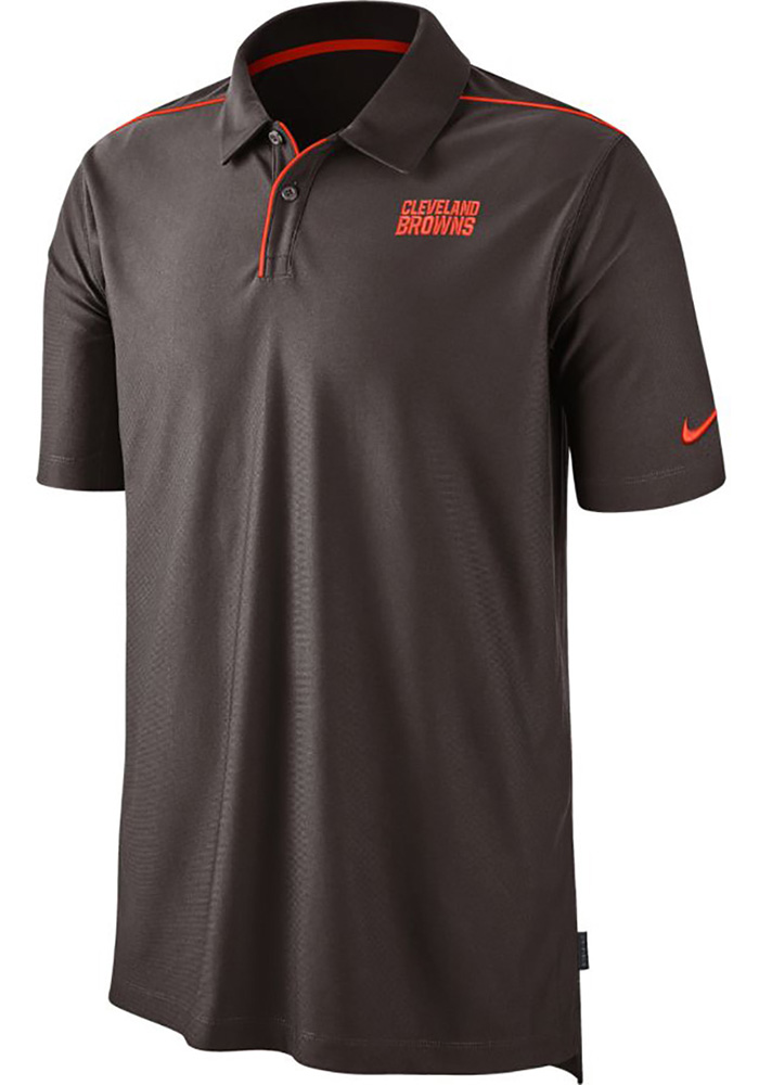 Nike Cleveland Browns Mens Brown Team Issue UV Short Sleeve Polo - Image 1