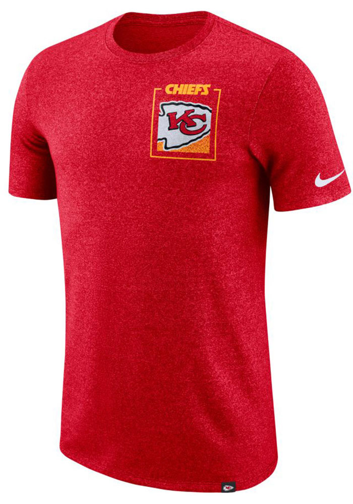 Nike Kansas City Chiefs Red Marled Stadium Short Sleeve Fashion T Shirt - Image 1