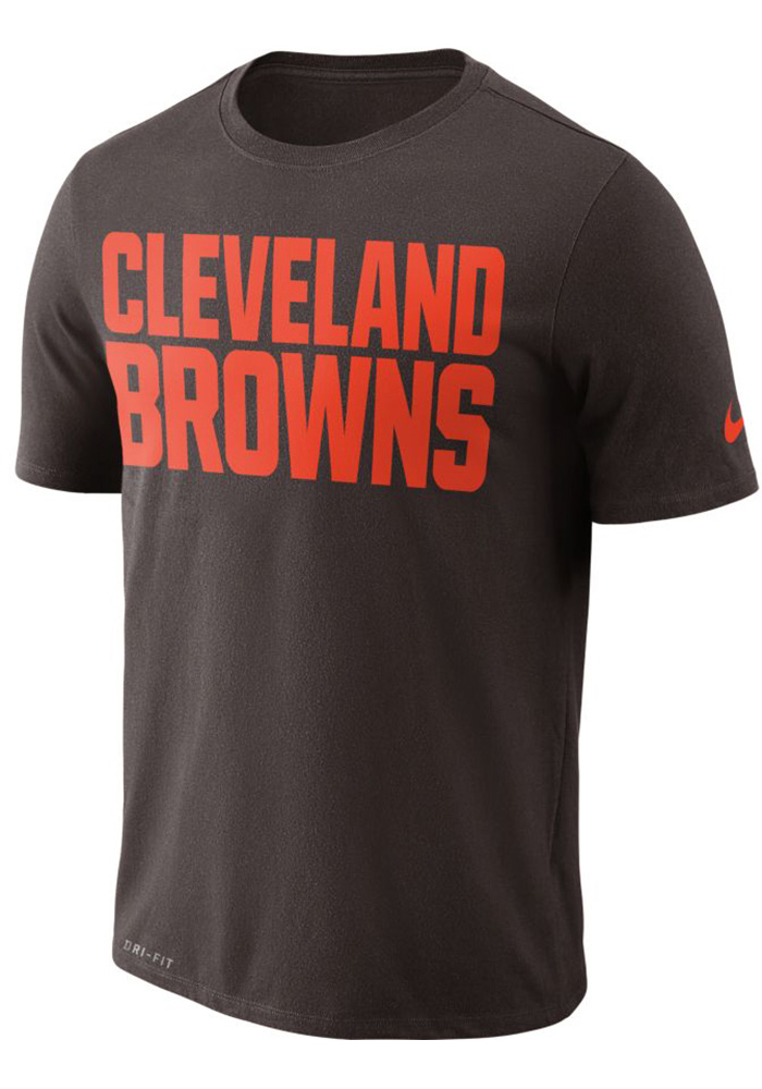 Nike Cleveland Browns Brown Essential Wordmark Short Sleeve T Shirt - Image 1
