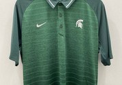 Nike Michigan State Spartans Mens Green Stripe Short Sleeve Polo