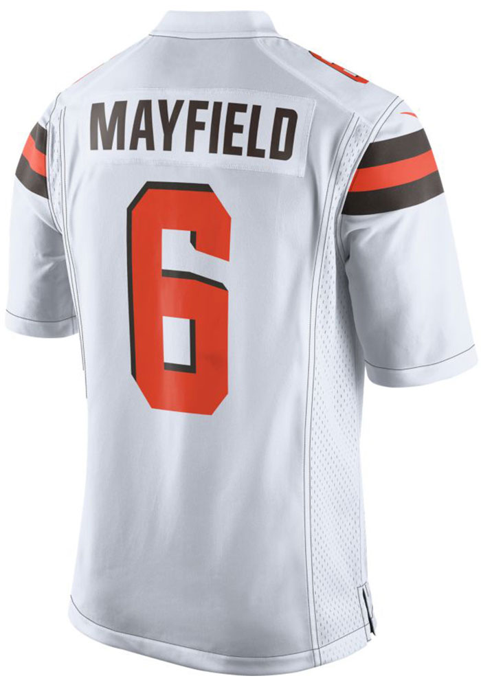 Baker Mayfield Nike Cleveland Browns Mens White 2018 Away Football Jersey - Image 1