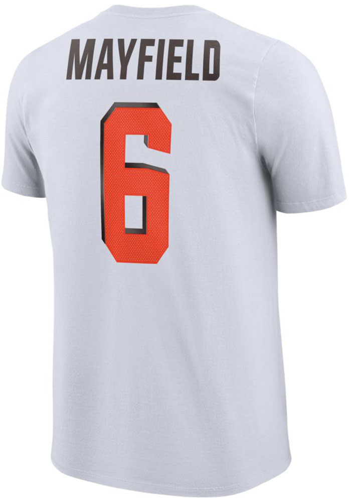 Baker Mayfield Cleveland Browns White Player Pride 3.0 Short Sleeve Player T Shirt - Image 1