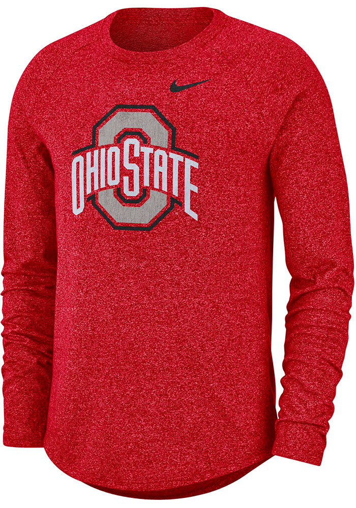 Nike Ohio State Buckeyes Red Marled Raglan Long Sleeve T Shirt - Image 1