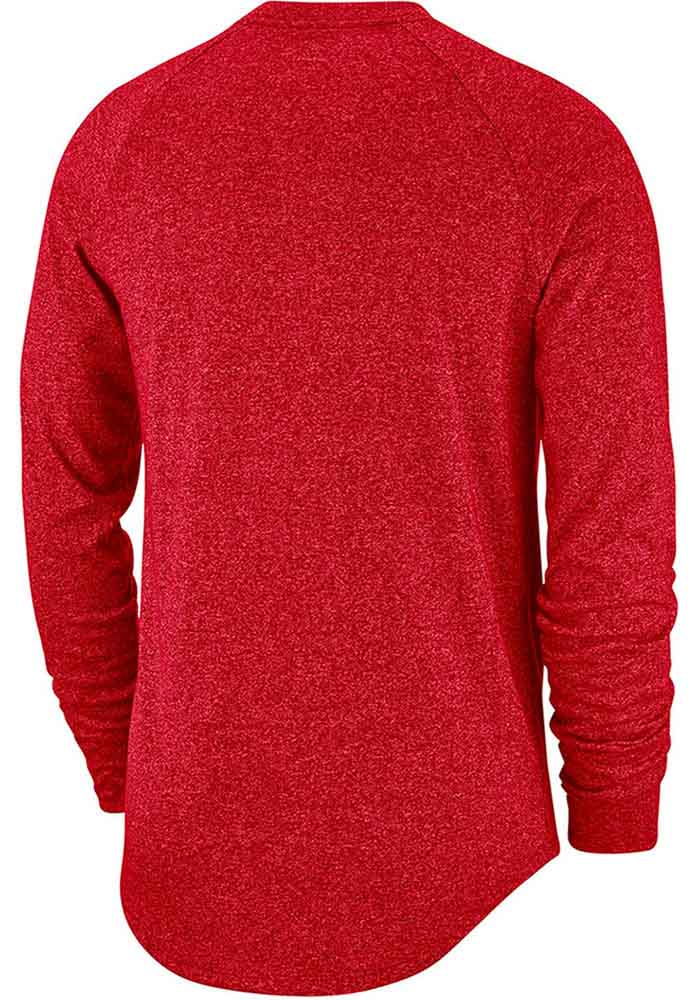 Nike Ohio State Buckeyes Red Marled Raglan Long Sleeve T Shirt - Image 2