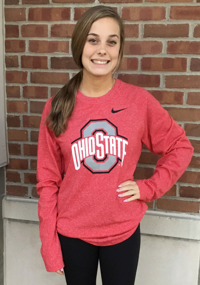 Nike Ohio State Buckeyes Red Marled Raglan Long Sleeve T Shirt - Image 3