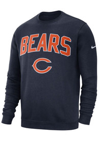 Chicago Bears Nike Fleece Club Crew Sweatshirt - Navy Blue