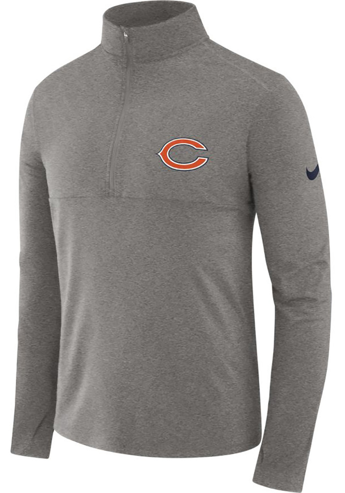 Nike Chicago Bears Mens Grey Core Long Sleeve 1/4 Zip Pullover - Image 1