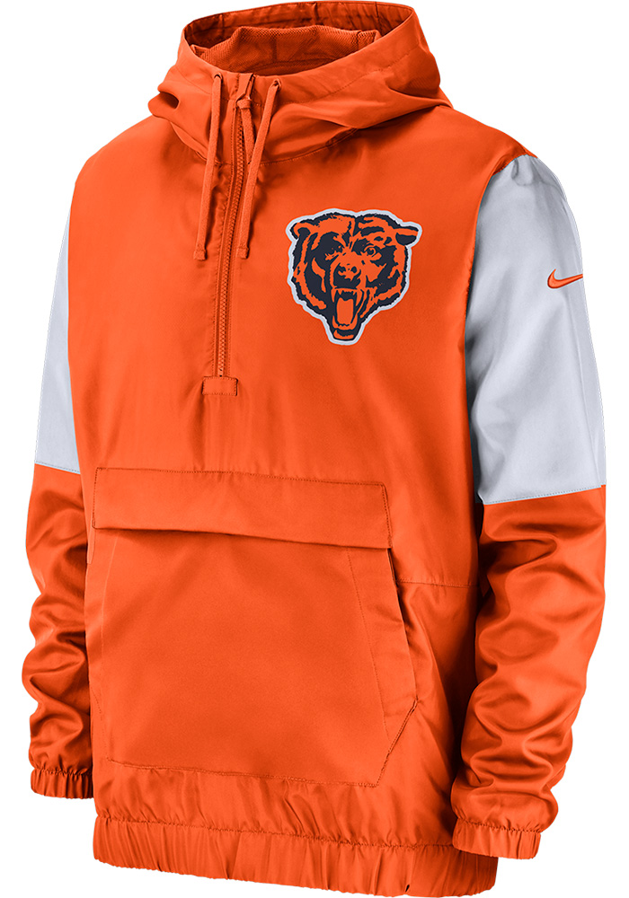 newest fa0ba da2cd Nike Chicago Bears Mens Orange Anorak Pullover Jackets