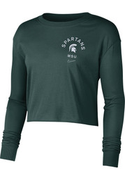 Nike Michigan State Spartans Womens Green Dry Cropped LS Tee