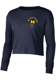 Michigan Wolverines Womens Nike Dry Cropped T-Shirt - Navy Blue