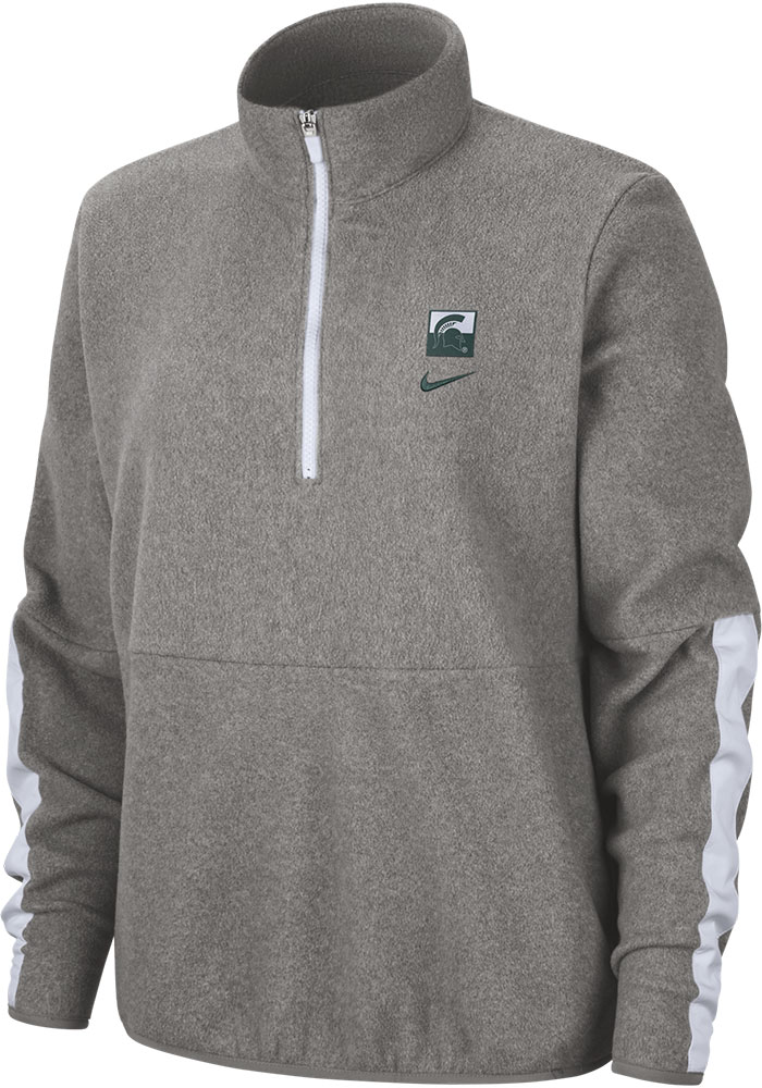 Michigan State Spartans Womens Nike Therma Microfleece 1/4 Zip Pullover - Grey