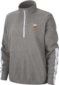 Texas Longhorns Womens Nike Therma Microfleece 1/4 Zip Pullover - Grey