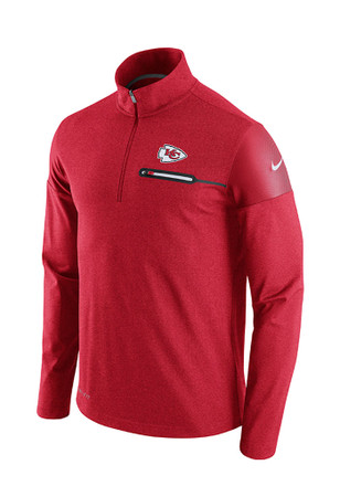 Nike KC Chiefs Mens Red Elite Coaches 1/4 Zip Performance Pullover