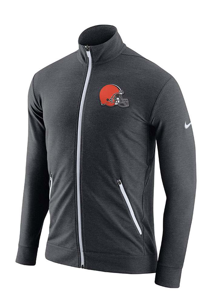 Nike Cleveland Browns Mens Grey Dri-FIT Touch Fleece Long Sleeve Zip Fashion - Image 1