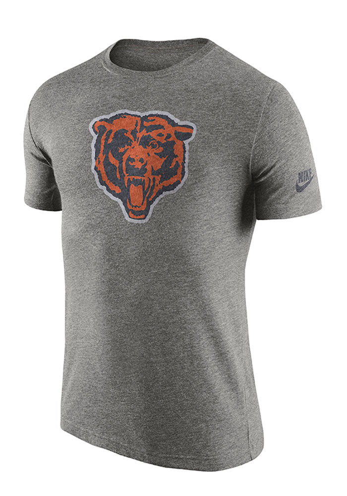 Nike Chicago Bears Mens Grey Historic Logo Short Sleeve Fashion T Shirt - Image 1
