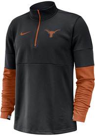 Texas Longhorns Nike Color Block Therma 1/4 Zip Pullover - Black