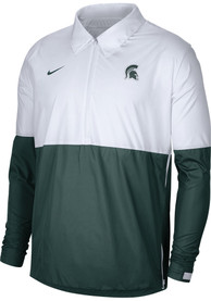 Michigan State Spartans Nike Coach Color Block Pullover Light Weight Jacket - White