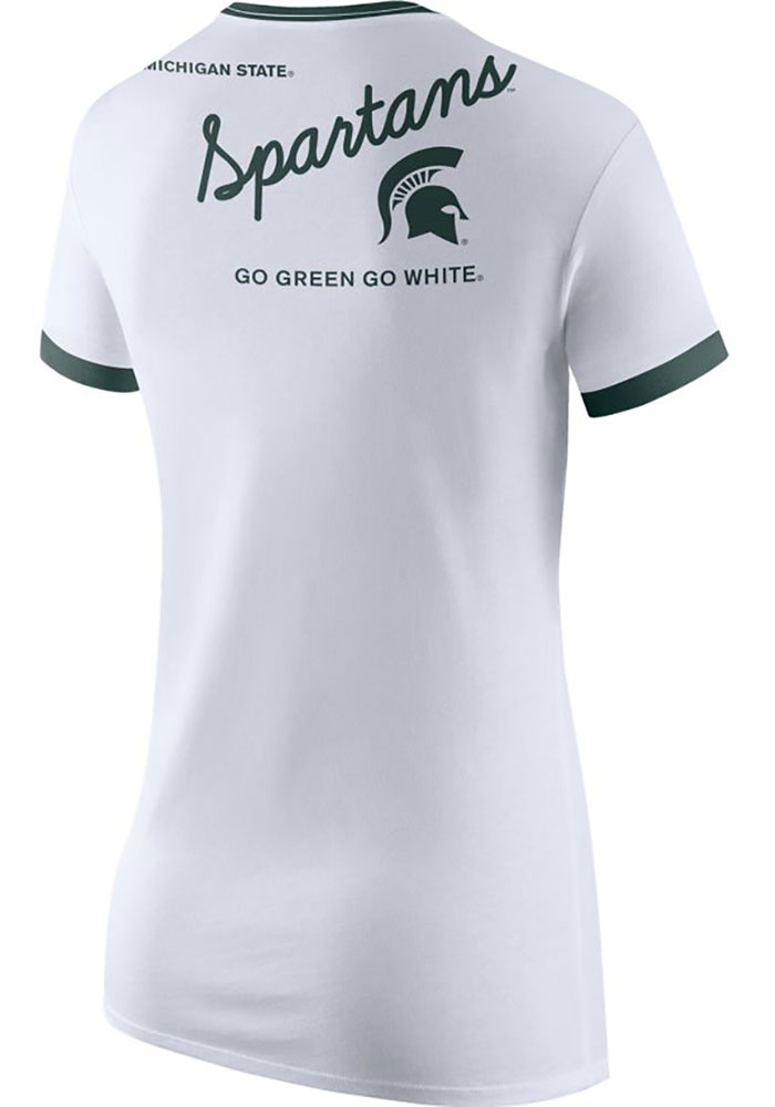 Michigan State Spartans Womens Nike Triblend Ringer T-Shirt - White