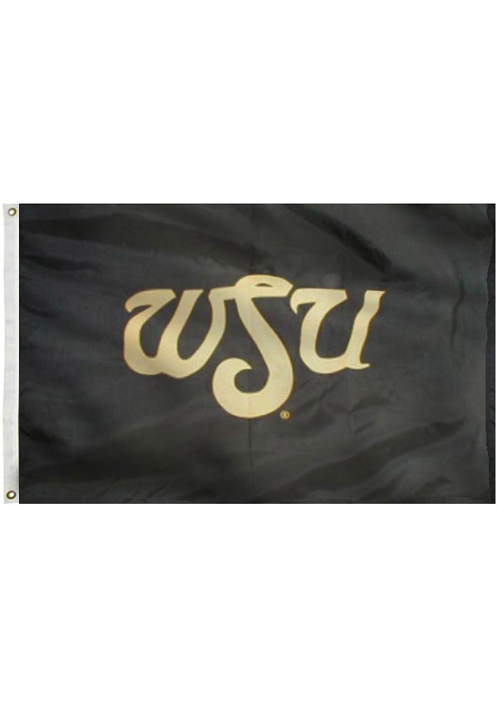 Wichita State Shockers 3x5 Black Applique Grommet Applique Flag - Image 1