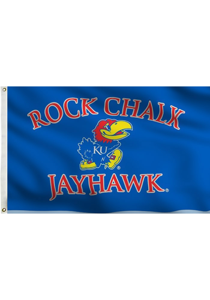 Kansas Jayhawks 3x5 Blue Grommet Blue Silk Screen Grommet Flag - Image 1