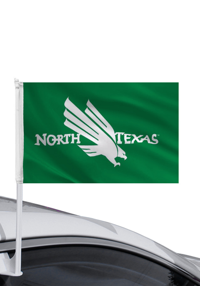 North Texas Mean Green 11x16 Green Silk Screen Car Flag - Image 1