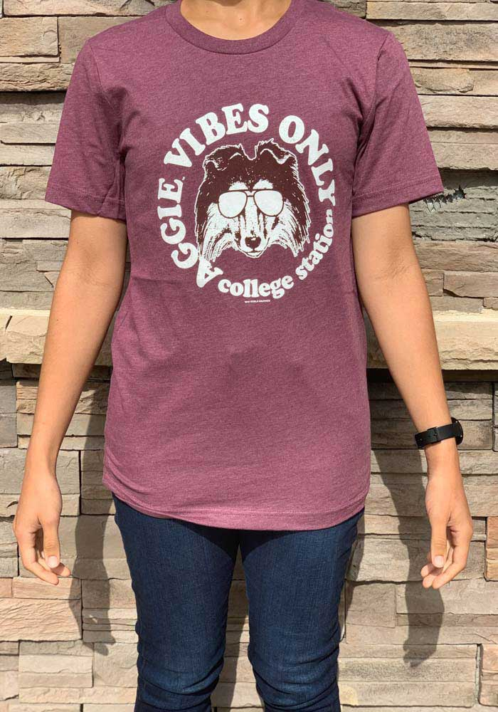 Texas A&M Aggies Womens Maroon Vibes Short Sleeve T-Shirt - Image 2