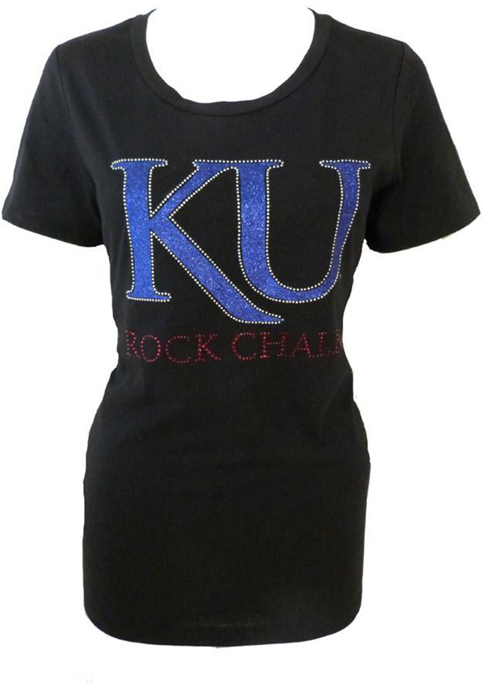 57dd737852a Kansas Jayhawks Womens Black Glitter Scoop