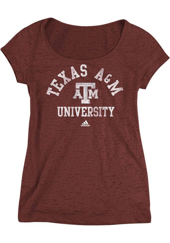 Adidas Texas A&M Aggies Womens Maroon Burnout Scoop Scoop T-Shirt - Image 1
