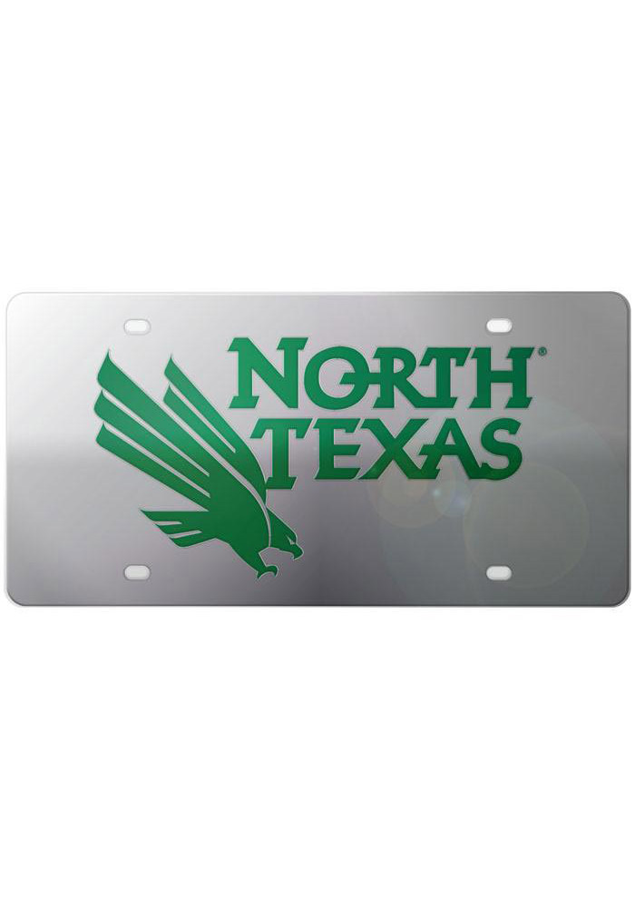 North Texas Mean Green Silver Team Name, Logo Car Accessory License Plate - Image 1