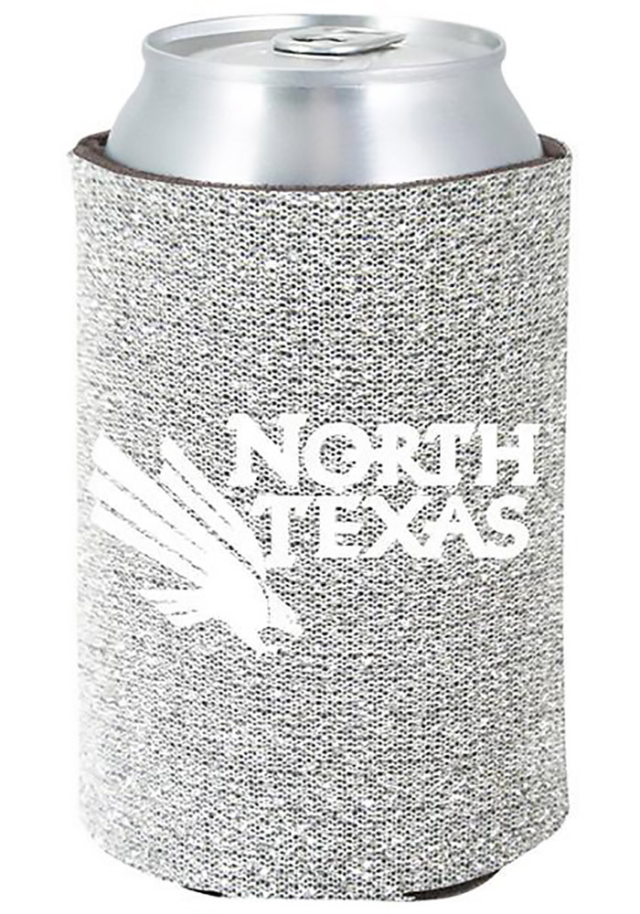 North Texas Mean Green Silver Glitter Can Koozie - Image 1